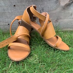 Mustard Distressed Leather Sandals
